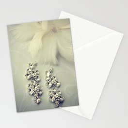 Diamnond / Crystal Earrings and feather flower Stationery Cards