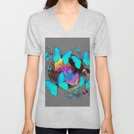 ABSTRACT NEON BLUE BUTTERFLIES & SOAP BUBBLES GREY COLOR Unisex V-Neck