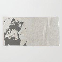 CURIOUS WEIMARANER Beach Towel