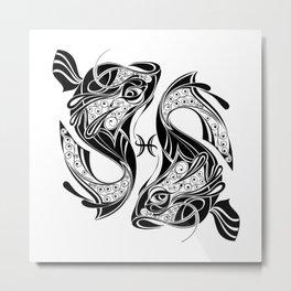 Pisces Zodiac Symbol Metal Print