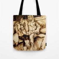 talking heads Tote Bags featuring Talking by Red, the artist