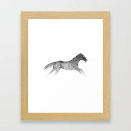 Running Watercolor Horses Ink Black Framed Art Print