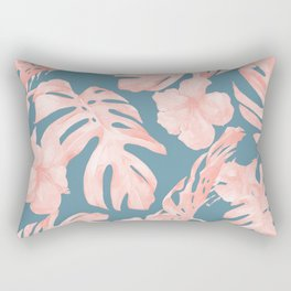 Tropical Palm Leaves and Hibiscus Pink Teal Blue Rectangular Pillow
