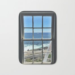 Sailboat in a Window at Pemaquid Point Lighthouse Bath Mat