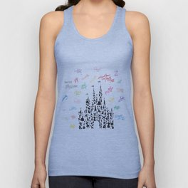 black and white character castle with rainbow signatures Unisex Tank Top