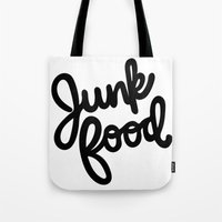 junk food Tote Bags featuring Junk Food by mellanid