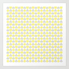 Playing Cards Pattern Grey Yellow on White Art Print