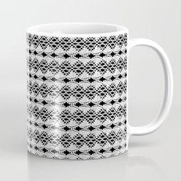 White Lace on Black Background Coffee Mug