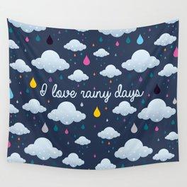 I love Rainy Days Wall Tapestry