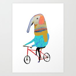 Elephant on bike. biking art, bike decor, bikes. Art Print