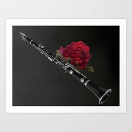 Black White Clarinet Red Rose Musical Instrument Wall Art A506 Art Print