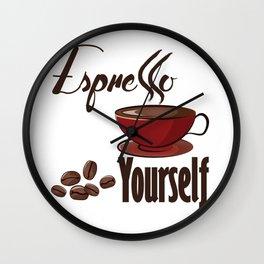 Espresso Yourself - Coffee Puns Wall Clock