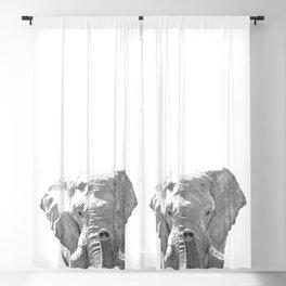 Black and white elephant illustration Blackout Curtain