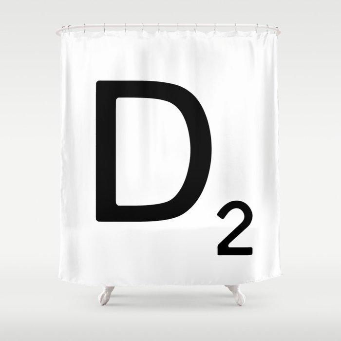 Letter D Custom Scrabble Wall Art Shower Curtain