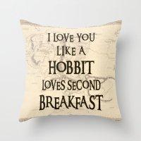 hobbit Throw Pillows featuring Hobbit Love by HeyShay