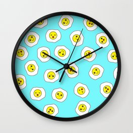 Sunny Side Up Pattern - Electric Blue Wall Clock