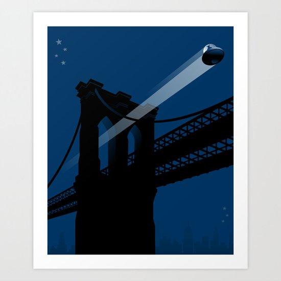 A UFO flies in Brooklyn Art Print