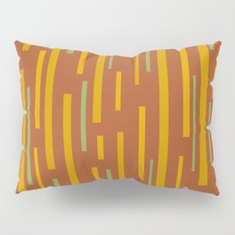 Interrupted Lines Mid-Century Modern Pattern in Mustard Yellow, Ochre, Green, and Clay Pillow Sham