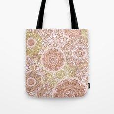 Rosey Gold Mandalas Tote Bag