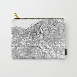 Cleveland White Map Carry-All Pouch