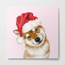 Christmas Shiba Inu Metal Print