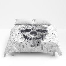 Doodle Skull BW Comforters
