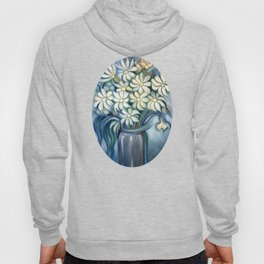 """""""Retro Vintage Bouquet of White and Blue Flowers"""" Hoody"""