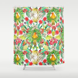 Exotic watercolor floral with tropical fruits and flowers Shower Curtain