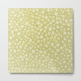 White Flowers on Pale Green Metal Print