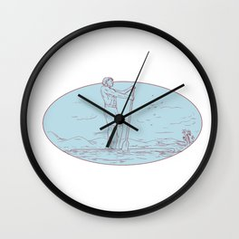 Guy Stand Up Paddle Tropical Island Oval Drawing Wall Clock