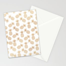 Modern blush brown tropical summer fruit pineapple Stationery Cards