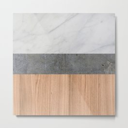 Carrara Marble, Concrete, and Teak Wood Abstract Metal Print