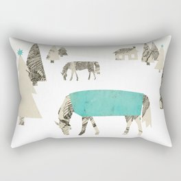 Winter Horses, A Holiday Collage Rectangular Pillow