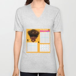 2020 2020 Afro Queen Fitness & Wellbeing Tracker Unisex V-Neck