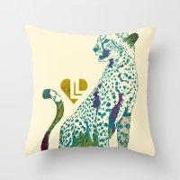 cheetah Throw Pillows featuring Cheetah by Danny Haas
