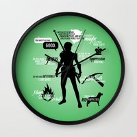 dragon age inquisition Wall Clocks featuring Dragon Age - Fenris by firlachiel
