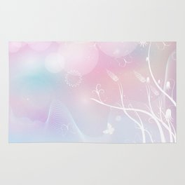 floral background with flowers, leaves, bird and branches of blooming tree. Stylized garden in tints Rug