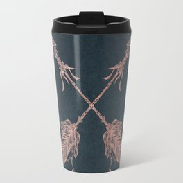 Arrows Rose Gold Foil on Navy Blue Travel Mug