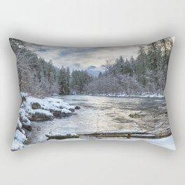 Morning on the McKenzie River Between Snowfalls Rectangular Pillow