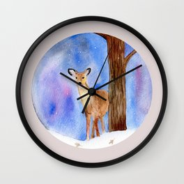 Deer in Forest Winter Painting Wall Clock