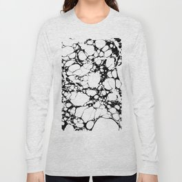 Black and White bubbles Spilled Ink Marbled Paper Long Sleeve T-shirt