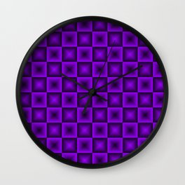 Chess tile of violet rhombs and black strict triangles. Wall Clock
