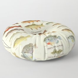 Illustrated Eastern Game Fish Identification Chart Floor Pillow