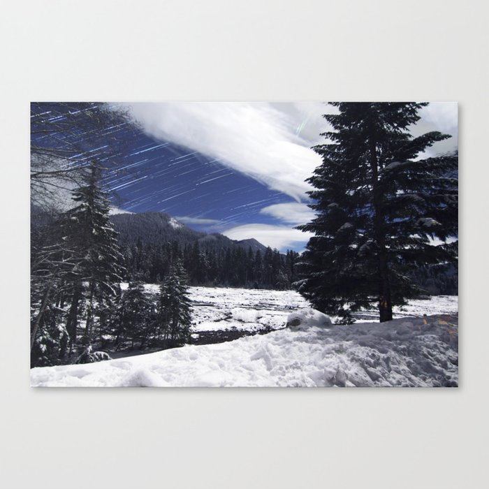 Star Trails in Mount Rainier National Park Canvas Print