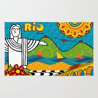 rio de janeiro Area & Throw Rugs featuring Rio de Janeiro 2015 by Monica Fuchshuber