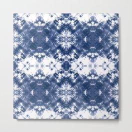 Shibori Tie Dye Indigo Blue Metal Print