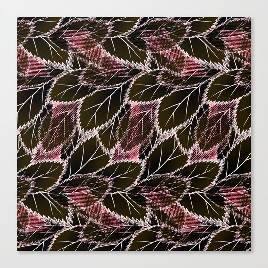 Bright leaves on a black background. Canvas Print
