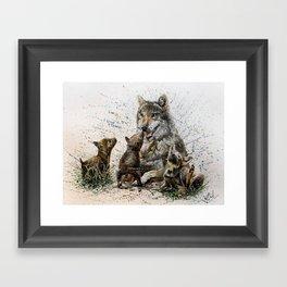 Good Morning wolf family watercolor Framed Art Print