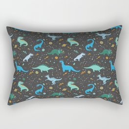 Dinosaurs in Space in Blue Rectangular Pillow