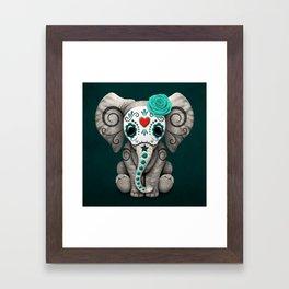 Teal Blue Day of the Dead Sugar Skull Baby Elephant Framed Art Print